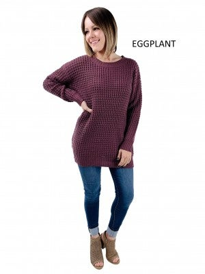 DOORBUSTER!!!!  Long Sleeve Waffle Knit Tunic Sweaters (Multiple Colors, Plus-Friendly)