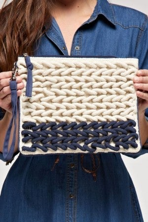 Thick Yarn Clutch with Zipper Detail