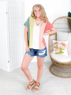 PLUS/REG Vertical Stripe V Neck Top (Multiple Colors)