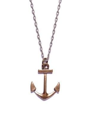 Silver or Bronze Anchor Necklace