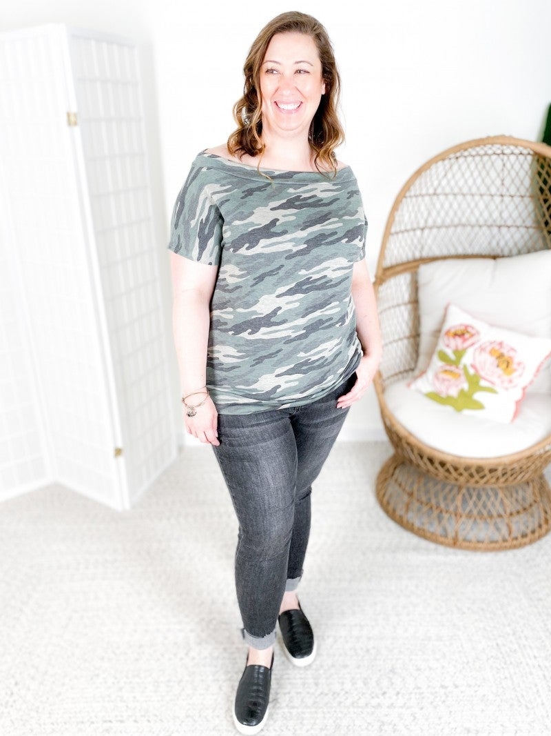 PLUS/REG Camo French Terry Off Shoulder Top with Banded Bottom
