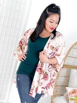 Plus/Reg Lightweight 3/4 Sleeve Blush and Floral Cardigan