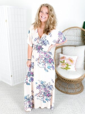 PLUS/REG Floral Wrap Maxi Dress