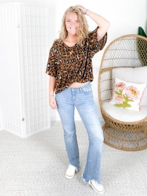 V-Neck Leopard Print Top with Front Twist Knot