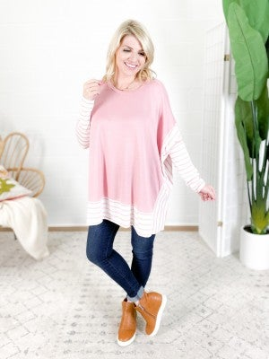 Pink Color Block Long Sleeve Knit Top with Striped Sleeves