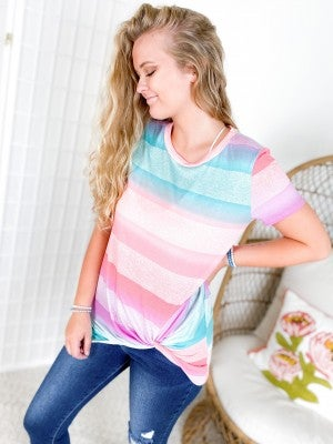 Colorful Ombre Stripe Twist Front Top