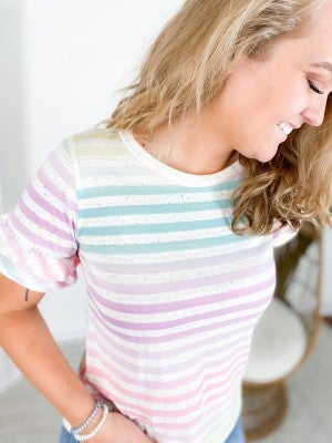 PLUS/REG Confetti Pastel Ombre Stripe Ruffle Sleeve Top