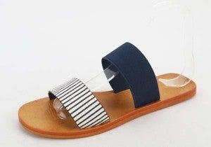 Navy & Stripes Simple Strap Sandal