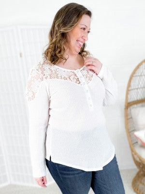 PLUS Thermal Button Down Top with Lace Sleeve & Shoulder Detail (Multiple Colors)
