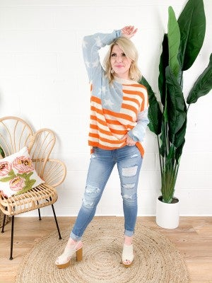 American Flag Spring Knit Top