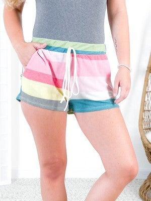 Multi Color Stripe Lounge Shorts