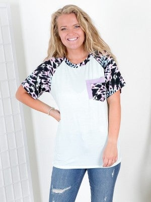 PLUS/REG Mint & Pink Tie Dye Raglan Top with Double Pocket Detail