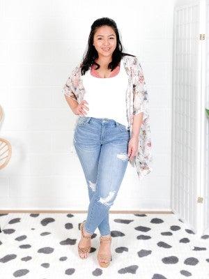 PLUS/REG Cream Floral Chiffon Kimono Cardigan
