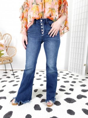 C'est Toi Bell of the Ball Button Fly Non-Distressed Flare Jeans