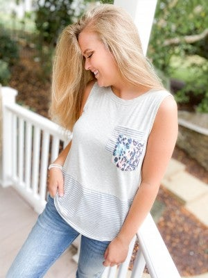 Sleeveless Knit Top with Leopard & Pinstripe Double Pocket Detail (Multiple Colors)