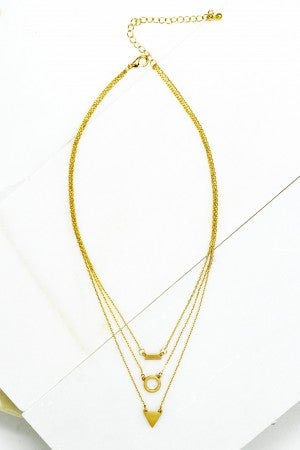 Gold Trio Layer Geo Shape Charm Necklace