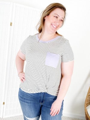 Black & White Striped Top with Twist Knot and Color Pocket Detail (Multiple Colors)