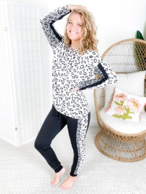 Ivory & Charcoal Leopard Print Long Sleeve Lounge Set