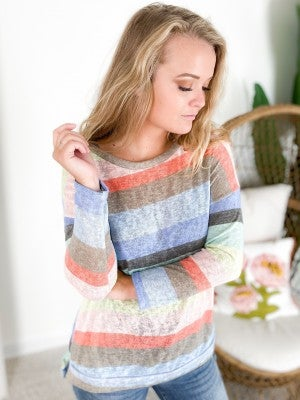 PLUS/REG Heather Multi Color Stripe Knit Top