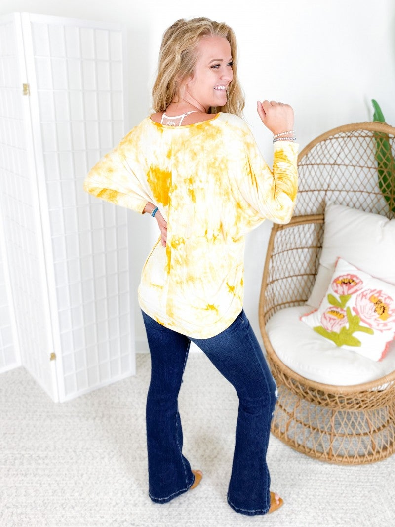 Tie Dye Dolman Long Sleeve Top (Multiple Colors)