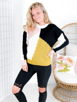 Crew Neckline Abstract Colorblock Sweater