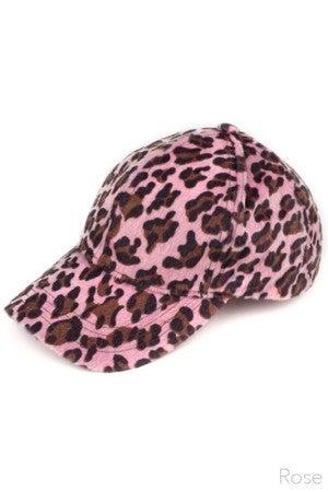 Gray, Rose or Magenta CC Velvet Leopard Print Baseball Cap