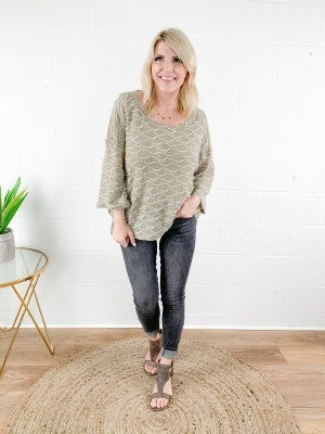 3/4 Sleeve Textured Knit Top (Multiple Colors)