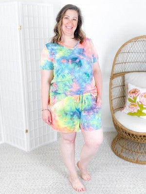 PLUS/REG Honeyme Neon Tie Dye Lounge Set