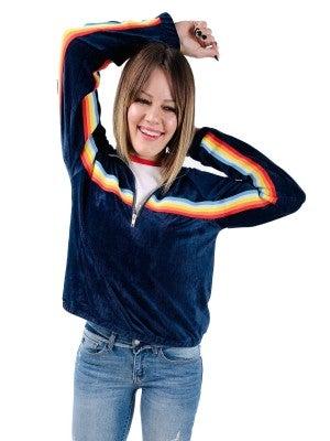 Navy Half Zip Rainbow Stripe POL Pullover