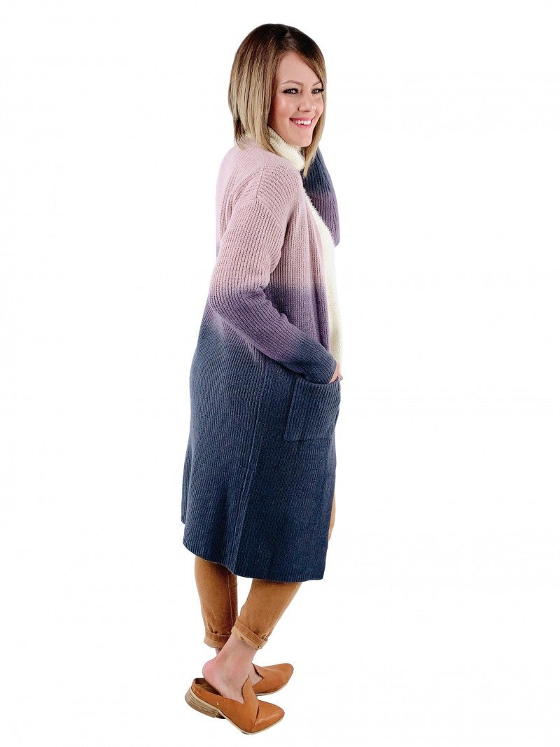 Violet Ombre Cardigan With Pockets