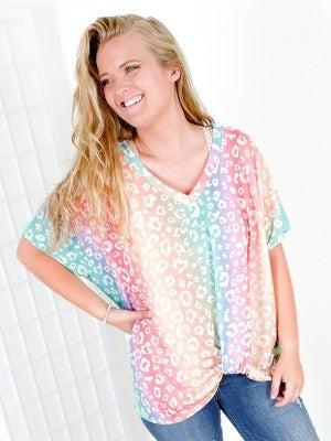 PLUS/REG Rainbow Ombre Leopard Print Top with Twist Knot