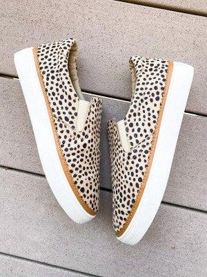 Freckled Cheetah Slip On Suede Sneakers