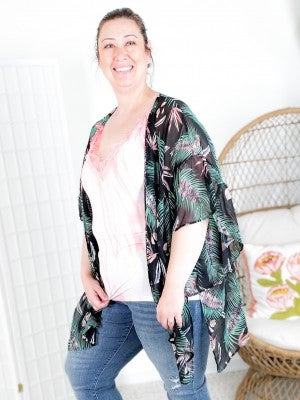 Tropical Leaf Kimono with Dolman Ruffle Sleeves and Side Slits