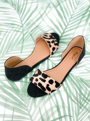Leopard Open Toe Ballerinas