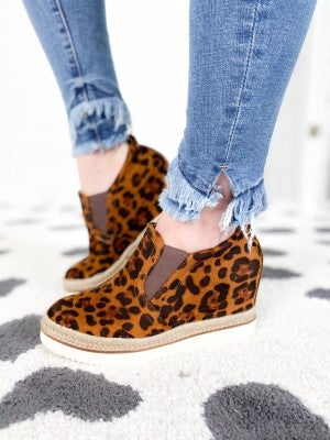 Leopard Wedge Sneakers with Espadrille Detail