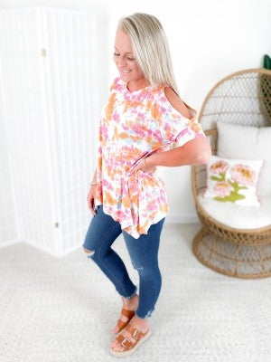 PLUS/REG Honeyme Pink & Orange Tie Dye Cold Shoulder Top