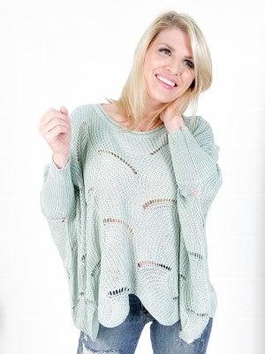 PLUS/REG Scallop Edge Batwing Sweater (Multiple Colors)