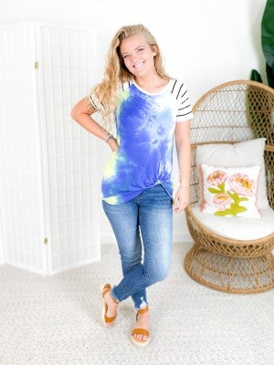PLUS/REG Striped Sleeve Lime Tie Dye Top