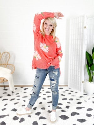 POPPY!!!! Long Sleeve Distressed Sweater (Multiple Colors)