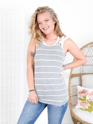 Strappy Shoulder Striped Sleeveless Top (Multiple Colors)