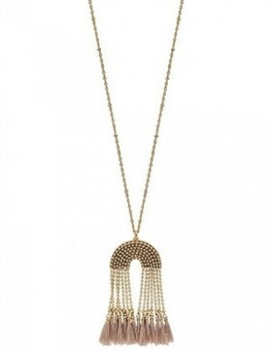 Gold Beaded Tassel Necklace With Stud Earrings (Multiple Colors)
