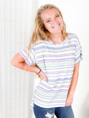 PLUS/REG Honeyme Lavender & Lime Striped Boxy Fit Top