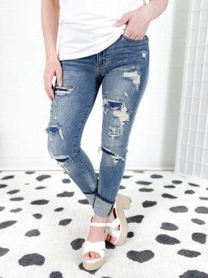 PLUS/REG Judy Blue Patch Patch Baby Slim Jeans