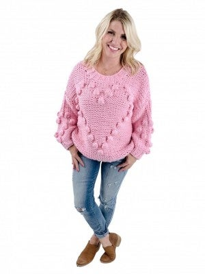 Lovely POL Handmade Sweater With Heart Pom Detail