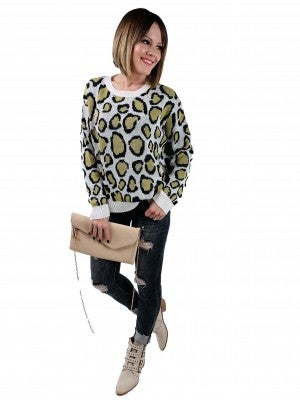 POL Long Sleeve Olive and Leopard Print Sweater