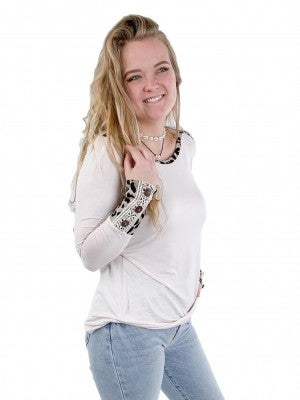Leopard and Lace Button Cuff Top
