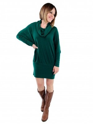 Long Sleeve Cowl Neck Tunic Top/Dress (Multiple Colors)