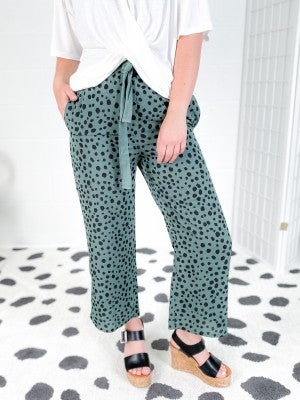 Cheetah Dot Side Slit Cropped Pants (Multiple Colors)