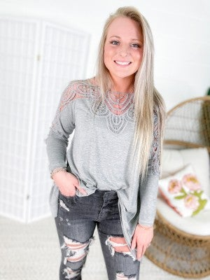 Long Sleeve Top with Lace Neckline & Sleeve Detail (Multiple Colors)
