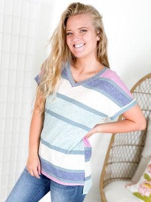 PLUS/REG Honeyme Mint + Navy Stripe Colorblock Top